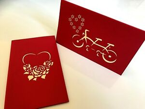 Heart-of-Lovers-on-Bicycle-3D-Pop-Up-Greeting-Cards-Designed-for-Valentine-039-s-Day