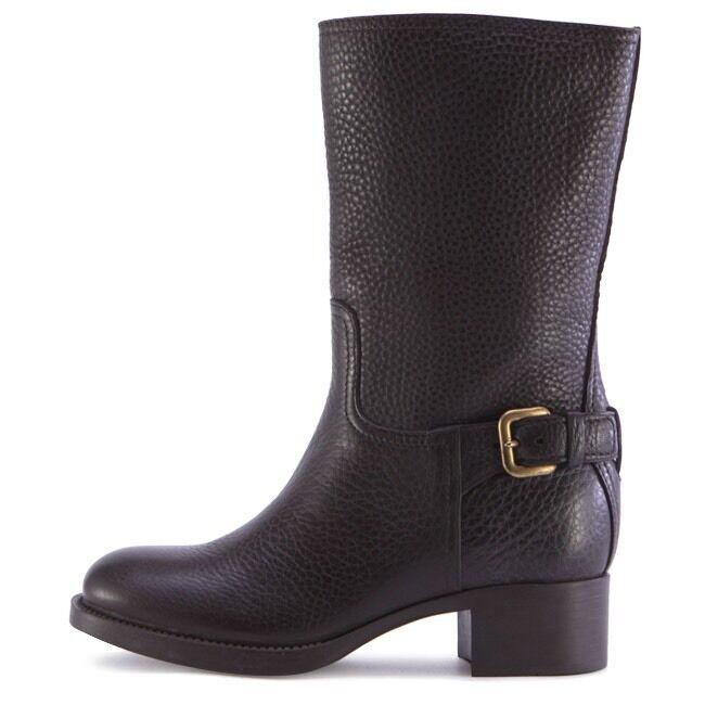 Prada abrochado Vitello Daino mitad de la la la pantorrilla botas de cuero de becerro marrón oscuro talla 39  Mejor precio