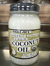 New TRADER JOES JOE'S ORGANIC VIRGIN UNREFINED COCONUT OIL JAR 32 Oz 2 Jars