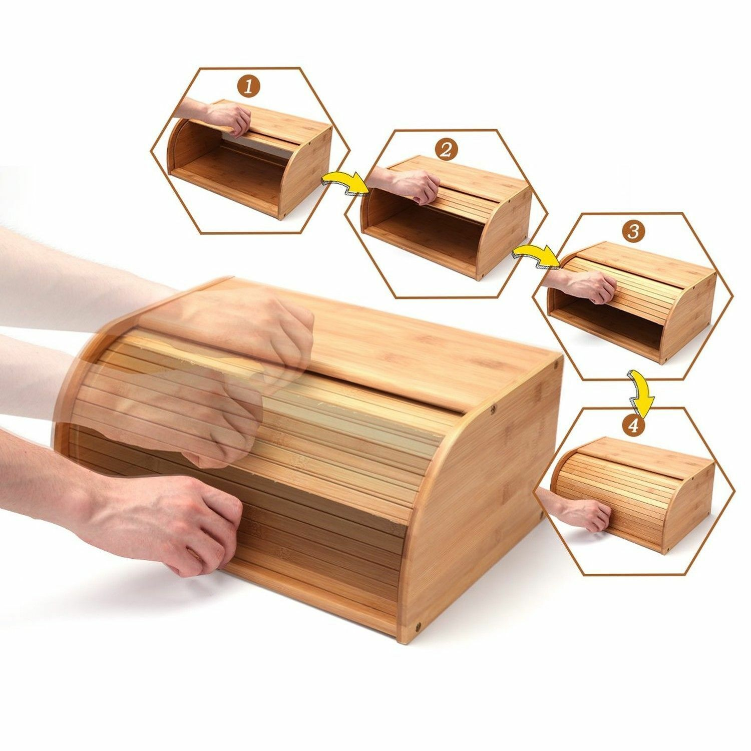 Roll Top Bamboo Wood Bread Box Loaf Container Kitchen Food Storage Bin Large US 5