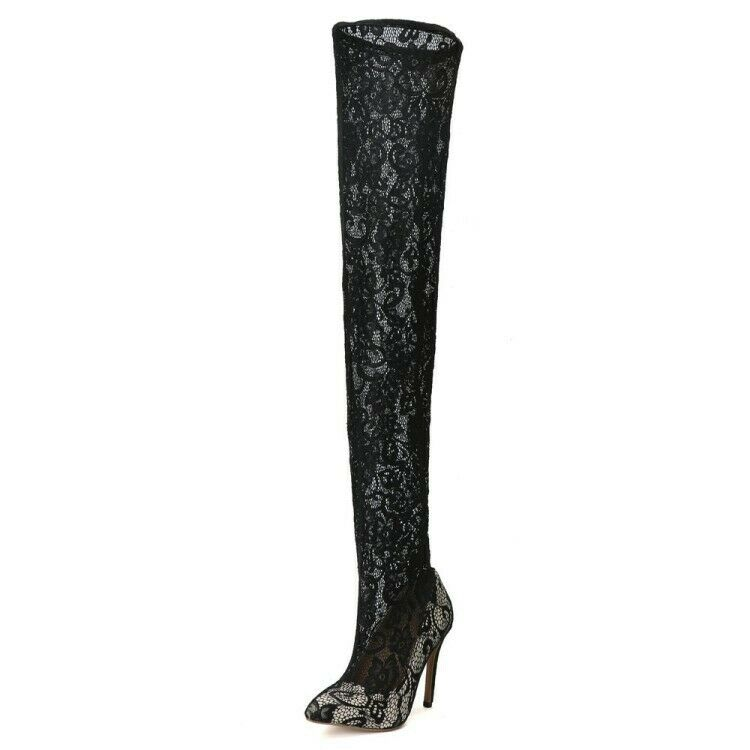 Sexy Ladies Super Over Knee High Boots Stilettos Black Lace Floral shoes Boots