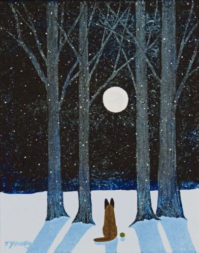 Belgian-Malinois-Malanois-DOG-Snow-Forest-LARGE-Art-PRINT-Todd-Young-WINTER-MOON