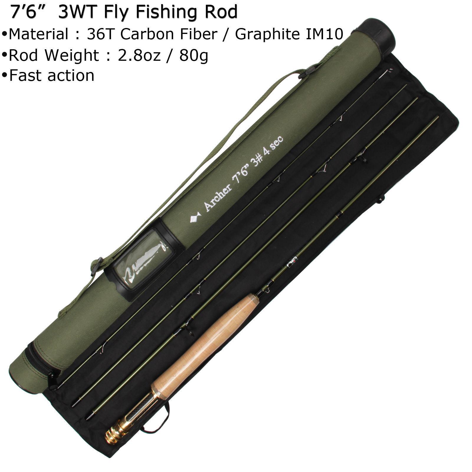 FLY Fishing Rod Combo 358WT Carbon Fiber FLY ROD Fly Bobina & Linea Cordura tubo