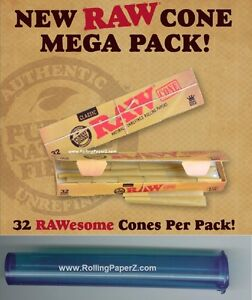 32-RAW-Mega-Pack-Cones-1-1-4-Size-PreRolled-Natural-Rolling-Paper-Storage-Tube
