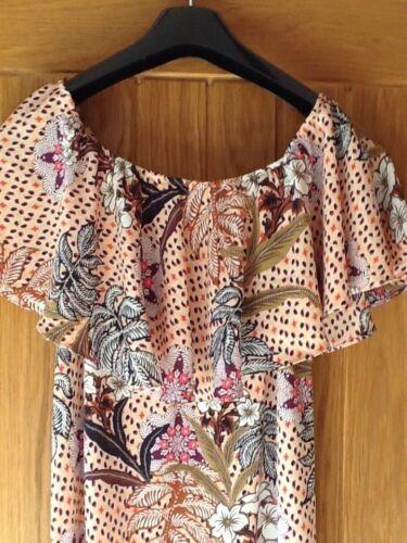 liten Floral Zara Off Bardot Fantastisk 8 Frill Midi Shoulder X Dress zdY6qx