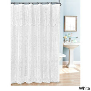 Details About Luxurious White Pink Blue Beige Lace Scalloped Valance Shower Curtain W Rings