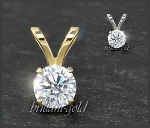 Diamant-Anhaenger-Damen-585-Gold-Brillant-3-5-mm-0-10-0-50-ct-Weissgold-Gelbgold