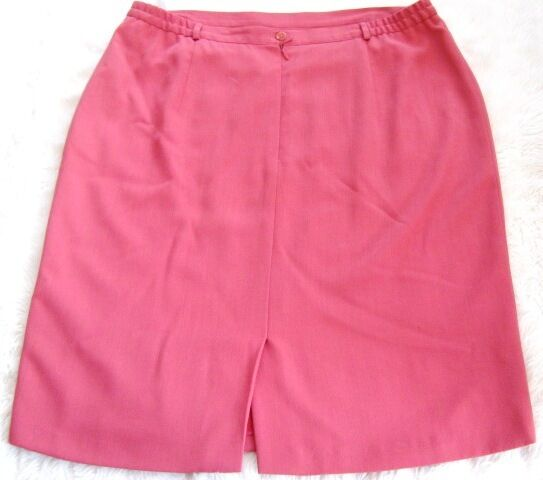 white Coral Pink Straight Pencil Knee Skirt Plus size