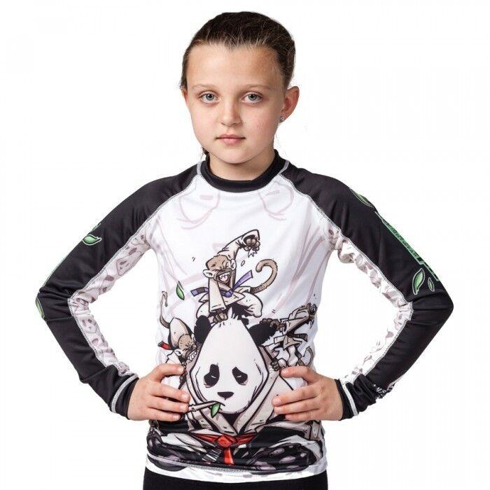 Tatami Kids Gentle Panda Rash Guard BJJ Jiu-Jitsu MMA No-Gi RashGuard