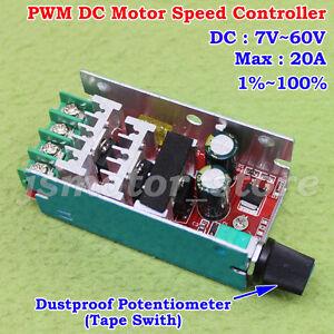 20A DC10-60V 12V 18V 24V 36V 48V PWM DC Motor Speed Regulation Controller Switch