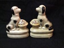 New Reproduction Staffordshire Pair of Dog Figurines with Flower Basket 6 Inches
