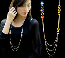 Shiny Swarovski Element Crystal Long Gold Chain Multi-Coloured Necklace Pendant