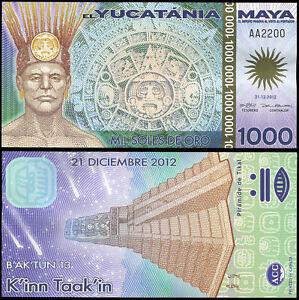Yucatania Maya 1000 Soles de oro. Polymer UNZ 21.12.2012 Banknote Kat# P.NL