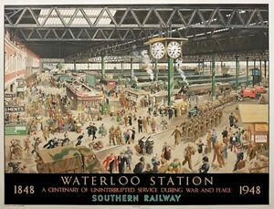 TX276-Vintage-Waterloo-Station-Southern-Railway-Travel-Poster-Re-Print-A2-A3-A4
