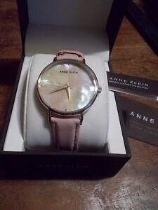 cf17b0852fe Anne Klein Womens AK/2790PMPK Gold-Tone & Pink Leather Strap Watch ...