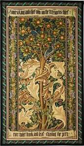 TREE OF LIFE TAPESTRY * GOLD William Morris Woodpecker Fruit Leaves WALL HANGING