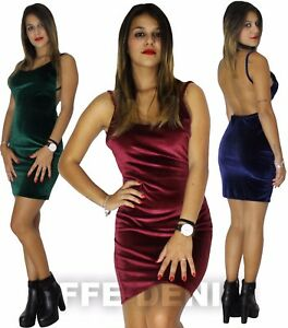 size 40 f8099 f9f06 Dettagli su Vestito Donna Velluto Abito Tubino Scollato Schiena Nuda  Miniabito aderente 9767