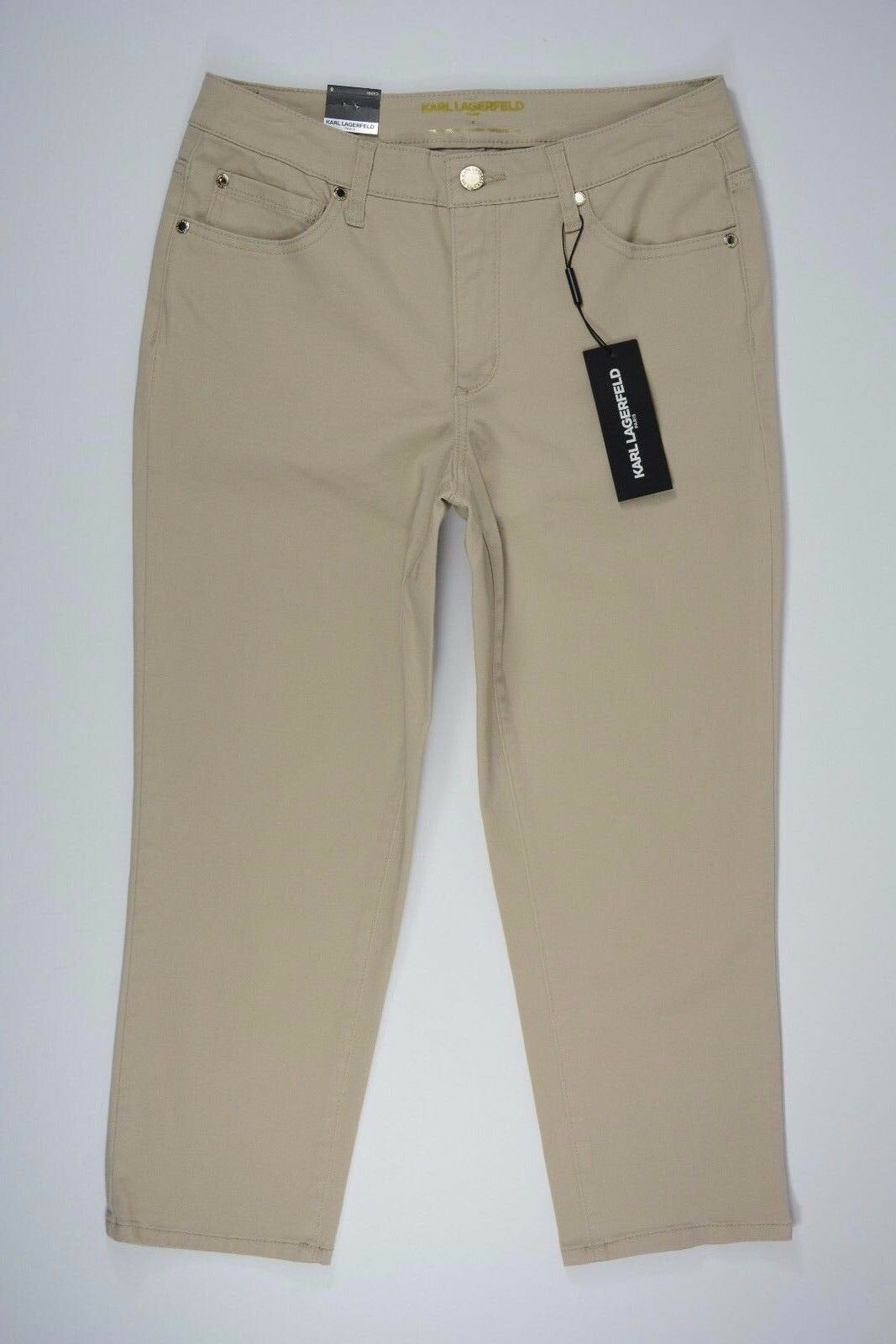 Women's Karl Largerfeld size 8 Tan Khaki Stretch Capri Crop Slimming Pants NEW