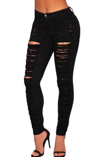 Pantalone donna jeans skinny denim vita alta strappato aderente tasche