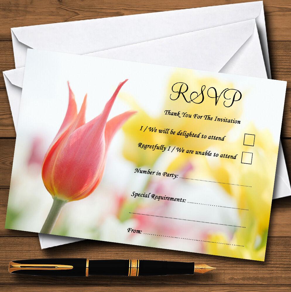 Delicada rosado Y Amarillo Floral Floral Floral Personalizado Boda O Fiesta RSVP Tarjetas 436725