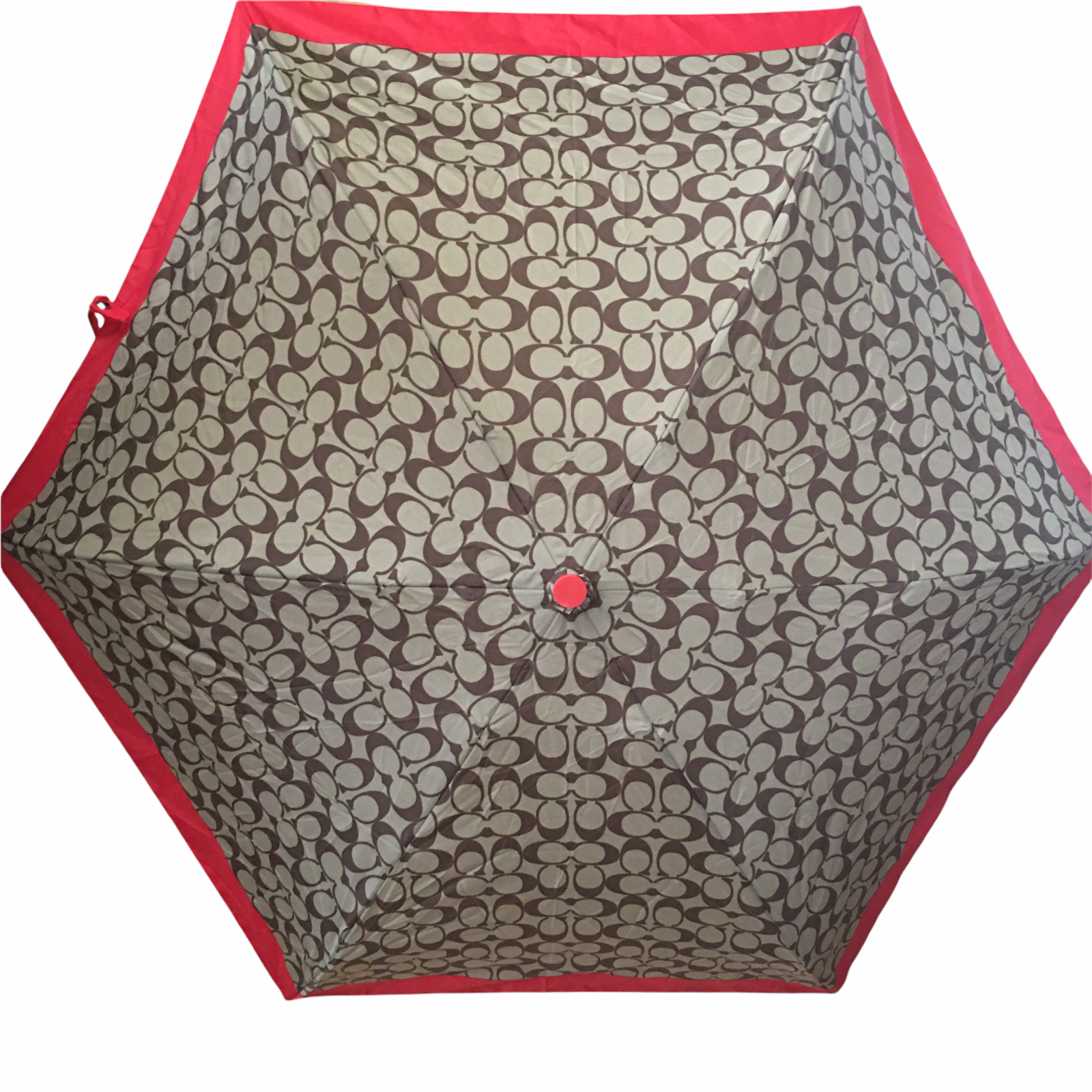 Authentic Coach Signature Red & Tan Compact Retractable Umbrella New WO Tags