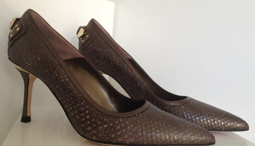 Versace tacón alto zapatos de de de salón stilettos de piel de serpiente de cuero marrón talla 40  wholesape barato