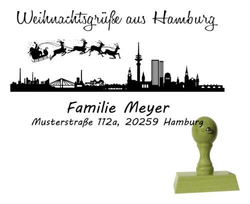Weihnachtsstempel Stempel Skyline Hamburg Adressstempel Holzstempel 70 x 40 mm