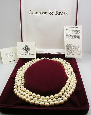 Jackie Kennedy Iconic Triple Strand Faux Pearl Necklace MADE IN USA w/packaging