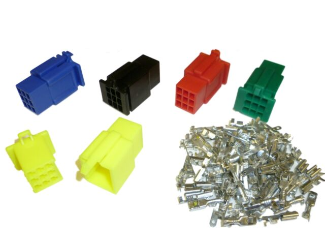 PACK of 5 Motorcycle Mini-Latch - Wiring Connector Sets (2.8mm) - 9 way COLOURS