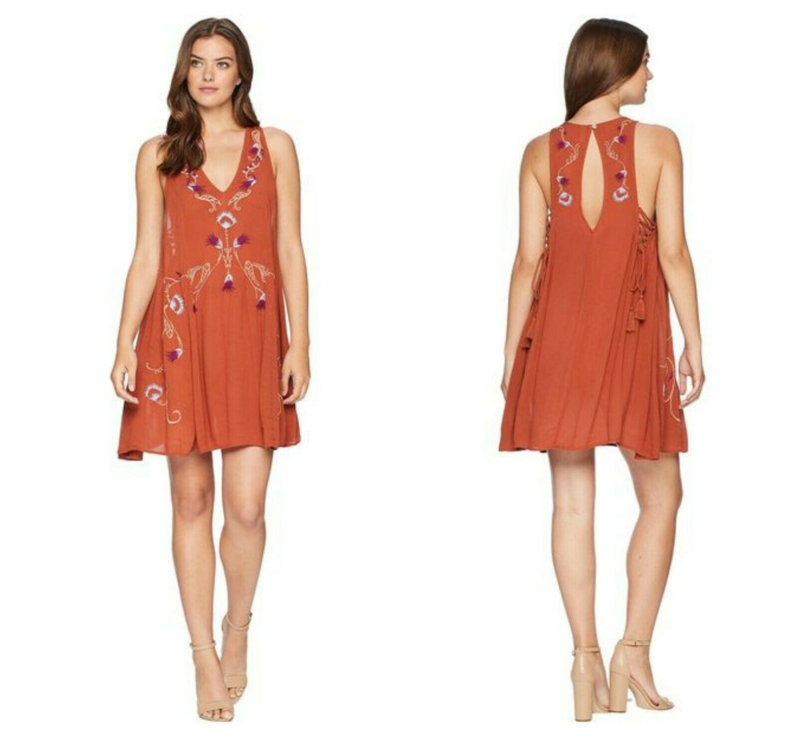 FREE  PEOPLE  TERRACOTTA  ADELAIDE EMBROIDERED SLIP  DRESS   Sz  XS  NEW    98