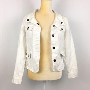 Armani-Exchange-AMX-Women-039-s-Size-S-White-Denim-Jacket-Cotton-Blend-Stretch