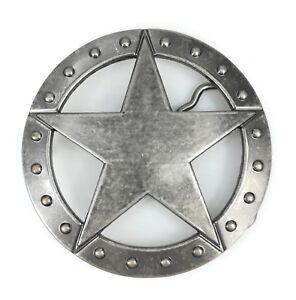 Vintage Silver Alloy Texas Sheriff Star Badge Western Cowboy Belt Buckle