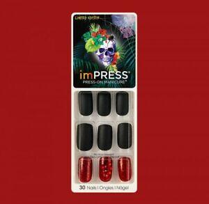 KISS imPRESS 30* Nail BLACK+RED JEWEL Press-On HEART WAS ...