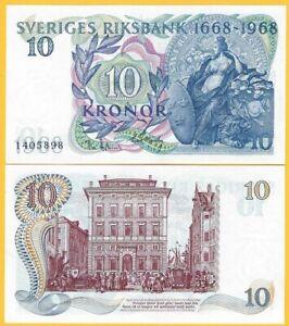 Sweden-10-Kronor-p-56-1968-Commemorative-UNC-Banknote
