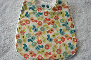 Multi-Coloured-Lions-Baby-Bib-Cotton-Front-Towelling-Back-Handmade