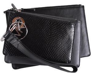 0dcc7e6cdc74 NEW Michael Kors Tri Charcoal Color Leather Pouch Trio Wristlet ...
