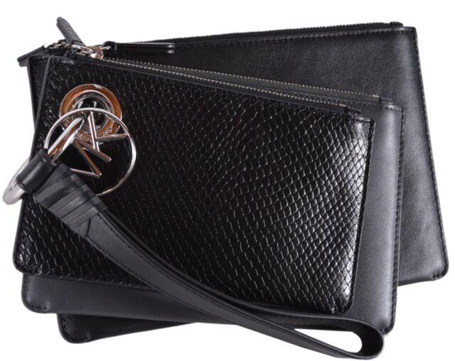 73da22c9c80b Michael Kors Tri Charcoal Color Leather Pouch Trio Wristlet Wallet ...