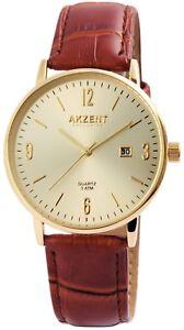 Akzent-Herrenuhr-Gold-Braun-Analog-Datum-Kunst-Leder-Armbanduhr-X2900118005