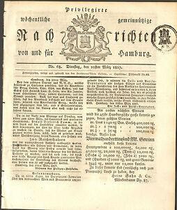 1827 Hamburger Zeitung mit Zeitungsstempel 3 Pfennig - Deutschland - 1827 Hamburger Zeitung mit Zeitungsstempel 3 Pfennig - Deutschland