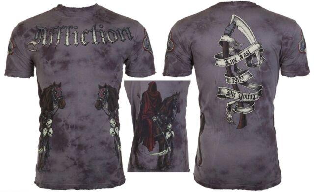 AFFLICTION Mens T-Shirt RIDER Headless Horseman Tattoo Biker MMA UFC Jeans $62