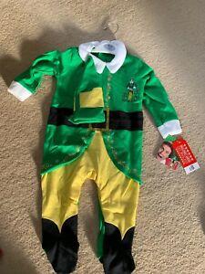 * Bnwt * Noël Elf Thème Tout-en-un Costume, Sz 6-9 Mois-afficher Le Titre D'origine