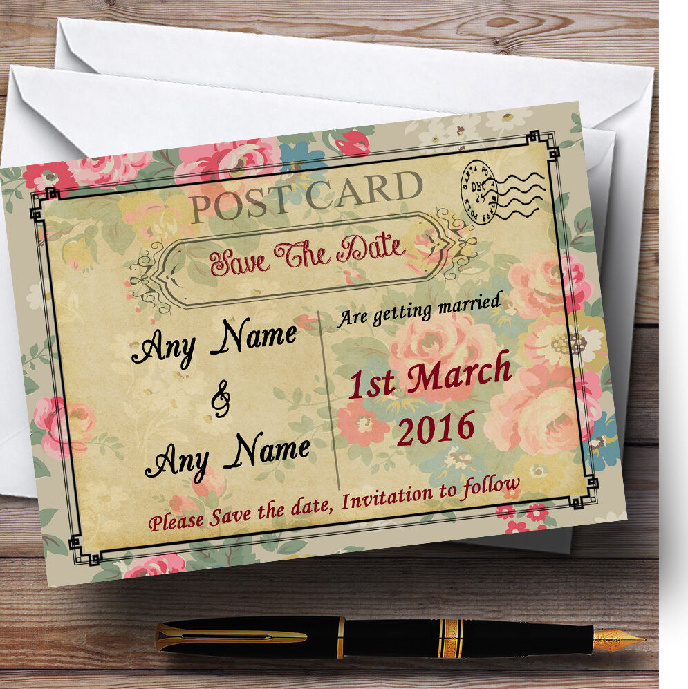Floral cards paris carte postale Personnalisé Mariage save the date cards Floral c63193