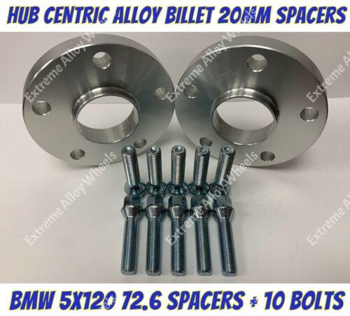 Espaciadores Rueda Aleación 20mm X 2 BMW E12 E28 E34 E60 E61 M12x1.5 5x120 72-6 Pernos