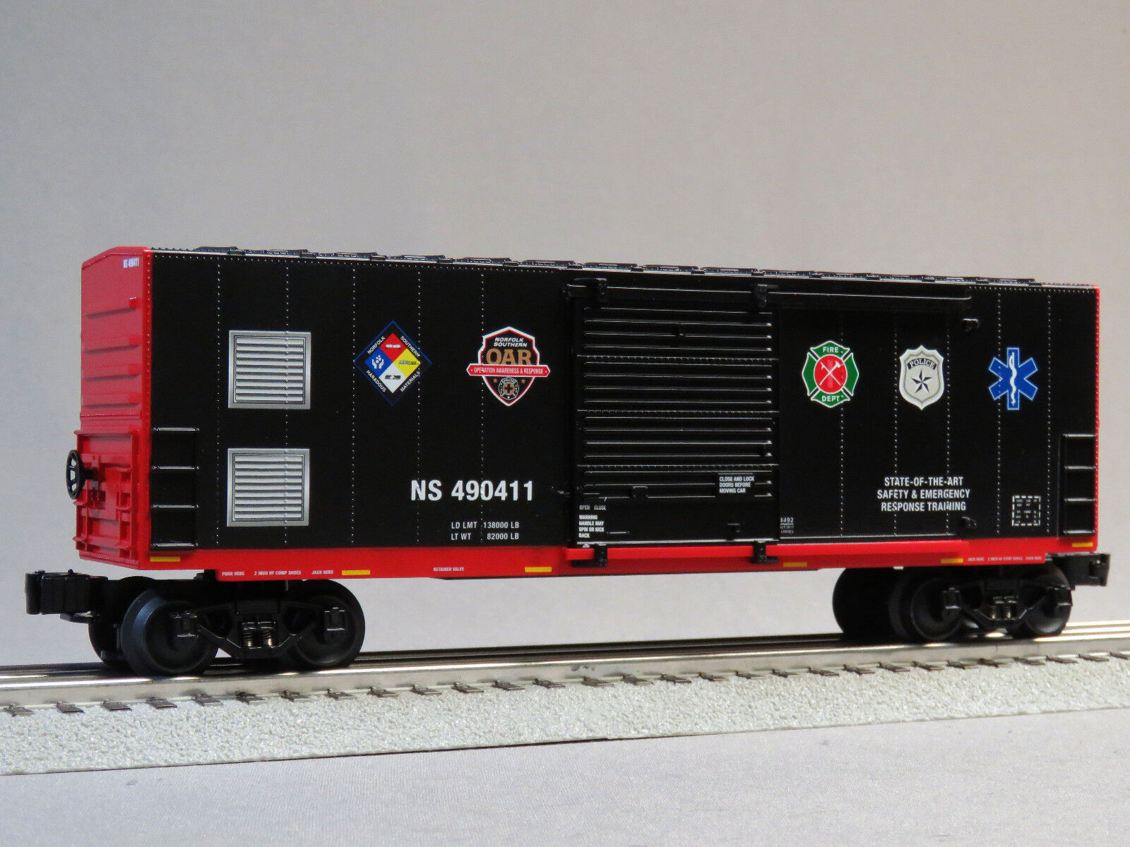 LIONEL NORFOLK SOUTHERN FIRST RESPONDERS BOXCAR O GAUGE train freight 6-84490-B