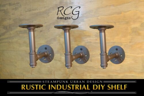 "Three 4x4/"" L Brackets DIY Pipes B urban steampunk rustic 8/""-10/"" deep shelf"