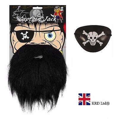 Sistematico Barba Pirata + Benda Sull'occhio Kit Da Uomo Ragazzi Bambini Fancy Dress Finti Capelli Accessorio Pack-mostra Il Titolo Originale