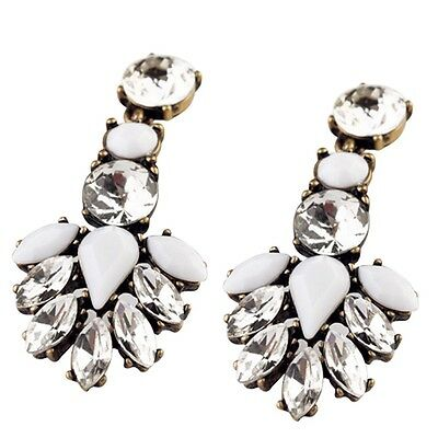 Clear Crystal White Resin Stone Inlay Spiked Statement Earrings For Women Hot