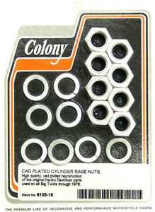 Harley-30-78-Big-Twin-Cylinder-Base-Nut-Set-Cadmium-Plated-Colony-8105-16