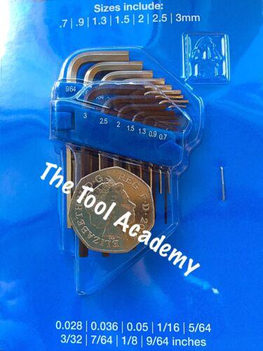 Mini Metric 0.7mm  3.0mm + AF Imperial Hex Allen Key Set In Packet + Holder