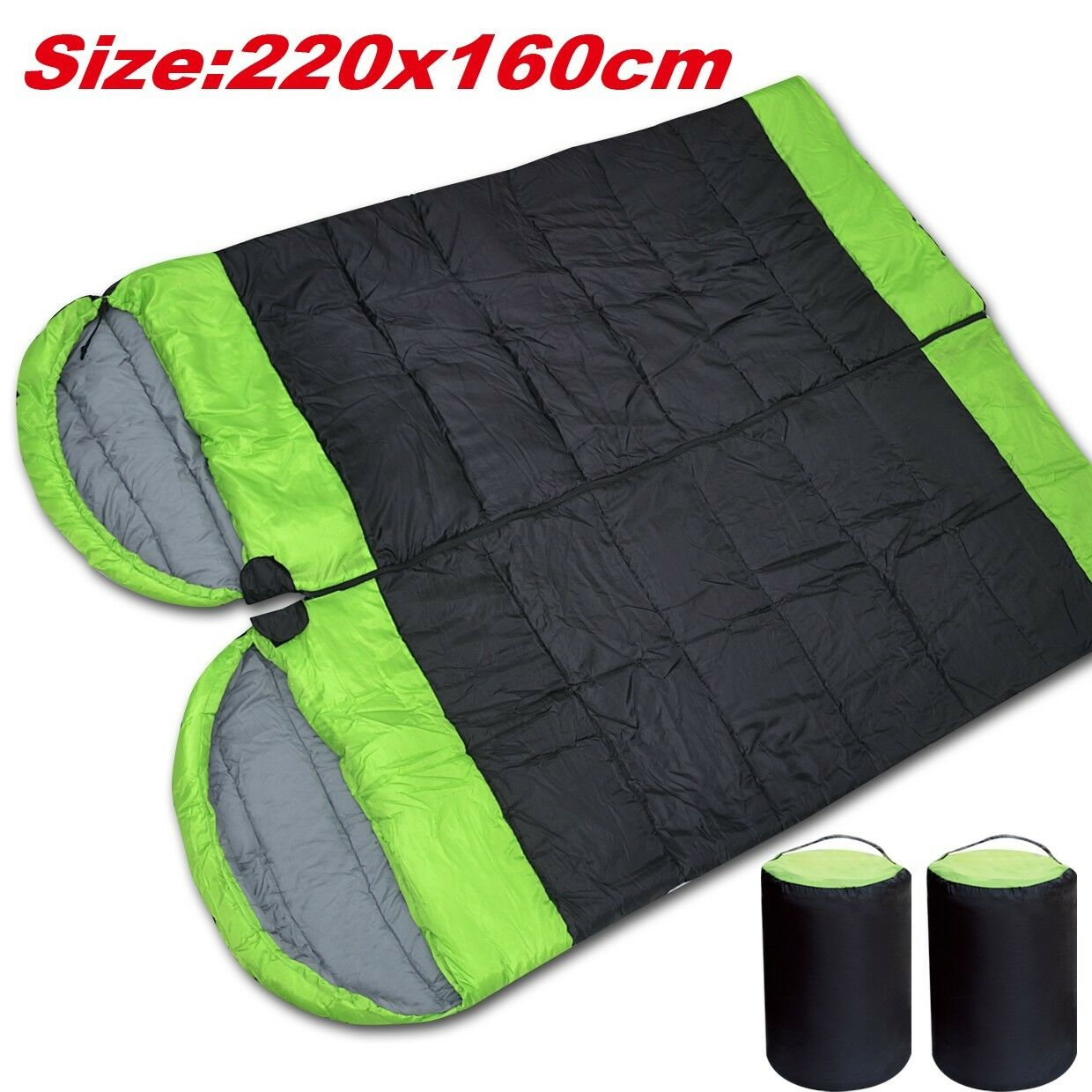 Double Conjoined Hooded  Sleeping Bag Outdoor Camping or Indoor Sleep  promotions